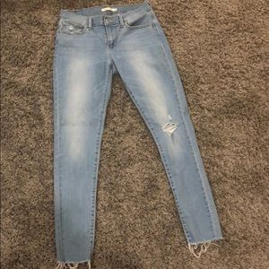 Levi's skinny ripped blue jeans Worn once or twice